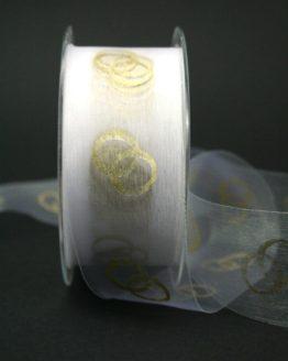 Organzaband mit goldenen Ringen, weiß, 40 mm breit - schnittkante, hochzeit