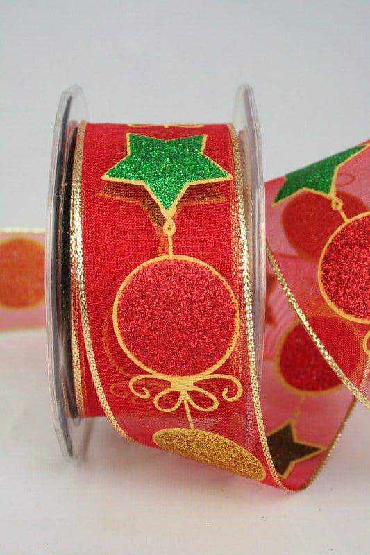 Organzaband mit glitzernden Kugeln und Sternen, rot-grün-gold, 40 mm - weihnachtsband, organzaband-weihnachten, geschenkband-weihnachten