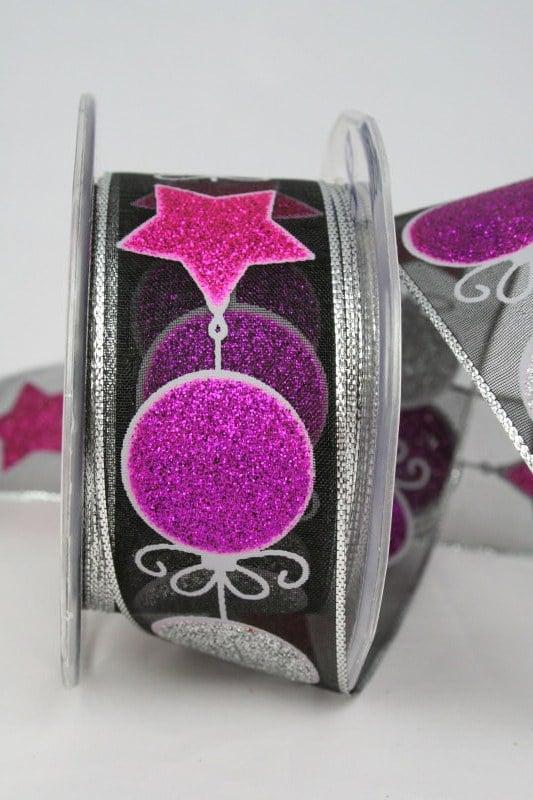Organzaband mit glitzernden Kugeln und Sternen, schwarz-pink-silber, 40 mm - weihnachtsband, organzaband-weihnachten, geschenkband-weihnachten