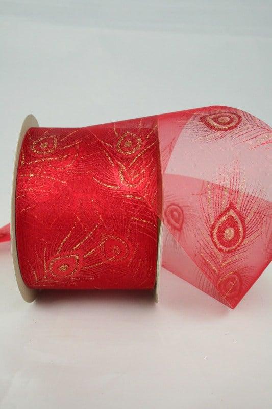 Breites Organzaband mit goldener Pfauenfeder, rot, 60 mm - weihnachtsband, organzaband-weihnachten, geschenkband-weihnachten