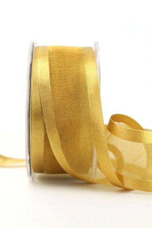 Organzaband mit Satinrand beige, 40 mm - organzaband-einfarbig