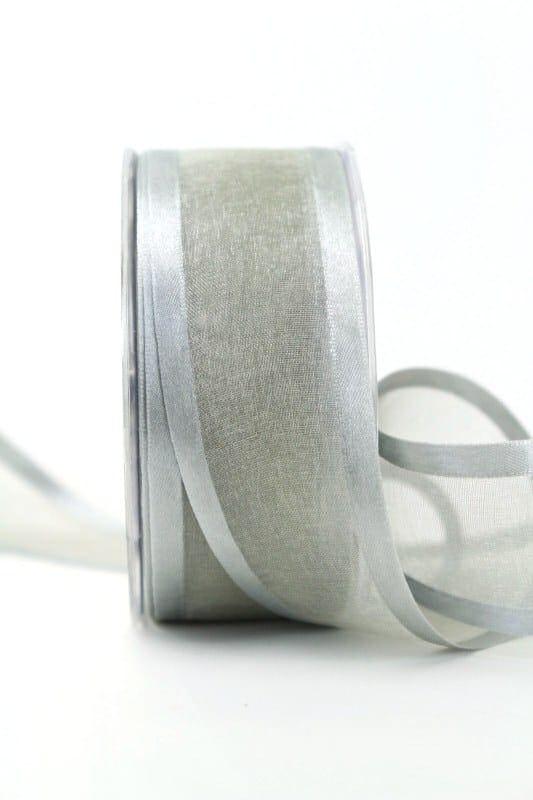 Organzaband mit Satinrand grau, 40 mm - organzaband-einfarbig