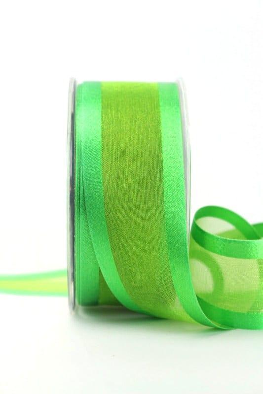 Organzaband mit Satinrand grün, 40 mm - organzaband-einfarbig