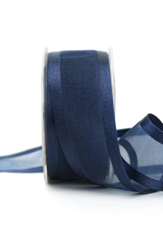 Organzaband mit Satinrand marine, 40 mm - organzaband-einfarbig
