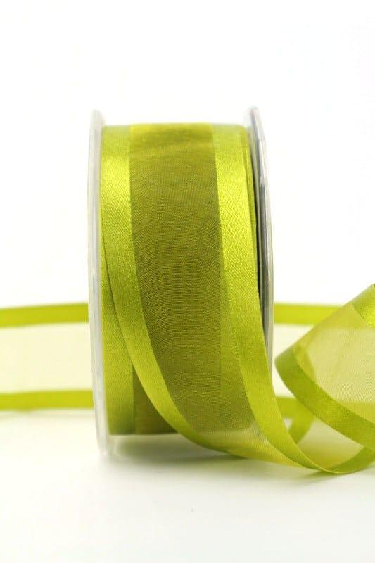 Organzaband mit Satinrand olivgrün, 40 mm - organzaband-einfarbig