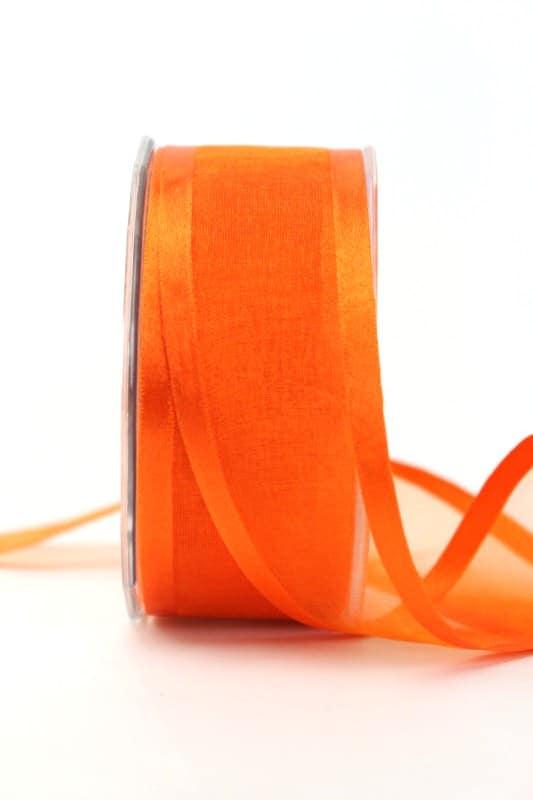 Organzaband mit Satinrand orange, 40 mm - organzaband-einfarbig