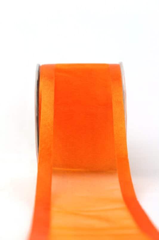 Organzaband mit Satinrand orange, 70 mm - organzaband-einfarbig
