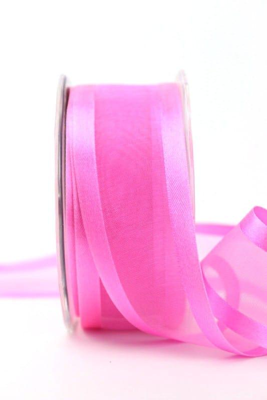 Organzaband mit Satinrand rosa, 40 mm - organzaband-einfarbig
