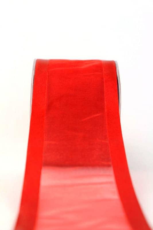Organzaband mit Satinrand rot, 70 mm - organzaband-einfarbig