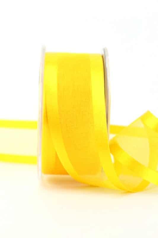 Organzaband mit Satinrand sonnengelb, 40 mm - organzaband-einfarbig
