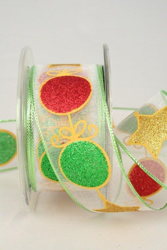 Organzaband mit glitzernden Kugeln und Sternen, weiß-grün, 40 mm - weihnachtsband, organzaband-weihnachten, geschenkband-weihnachten