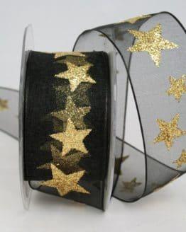 Organzaband mit goldenen Sternen, schwarz, 40 mm - weihnachtsband, organzaband-weihnachten, geschenkband-weihnachten