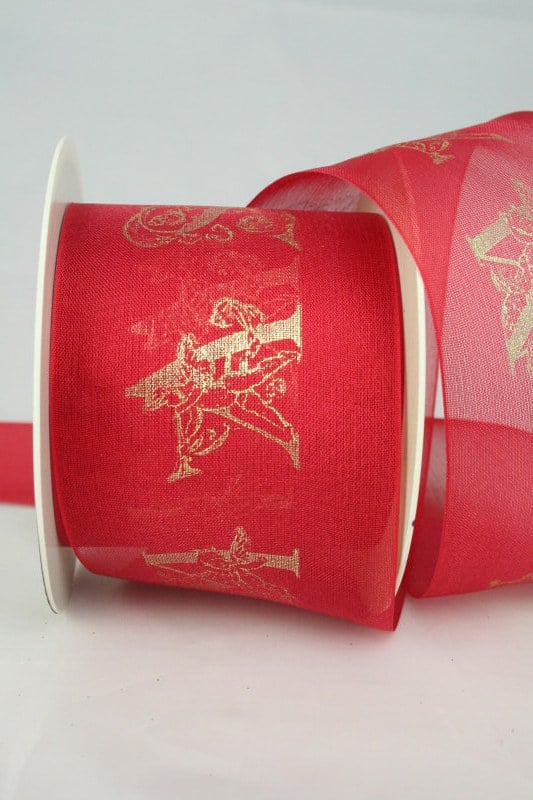 Breites Organzaband mit filigranem Xmas-Druck, rot-gold, 70 mm - weihnachtsband, organzaband-weihnachten, geschenkband-weihnachten, 30-rabatt