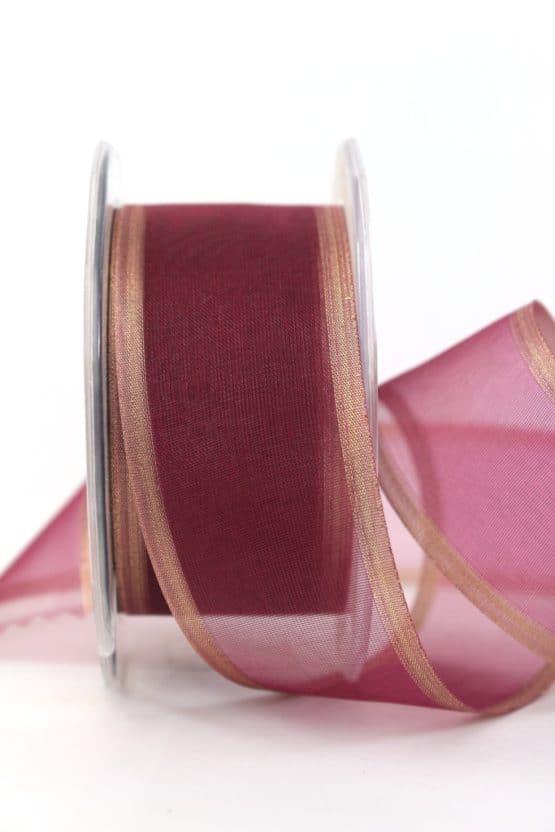 Organzaband bordeaux, 40 mm - weihnachtsband, organzaband-weihnachten, organzaband-einfarbig, geschenkband-weihnachten, 20-rabatt