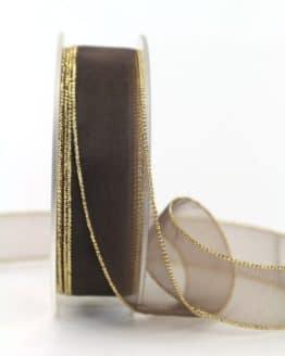 Organzaband braun m. Goldkante, 20 mm breit - webkante, organzaband-einfarbig, geschenkband-weihnachten