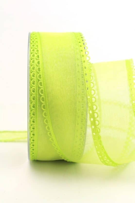 Organzaband hellgrün, 40 mm, mit Schlaufenkante - organzaband-gemustert