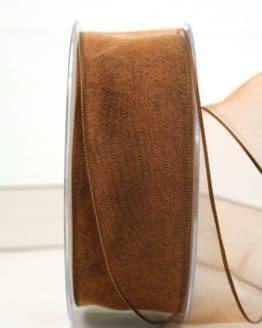 Organzaband braun, 40 mm, mit Drahtkante - organzaband-mit-drahtkante, organzaband-einfarbig