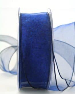 Organzaband mit Drahtkante, dunkelblau, 40 mm breit - organzaband-mit-drahtkante, geschenkband-dauersortiment