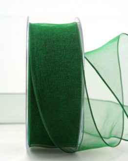 Organzaband dunkelgrün, 40 mm, mit Drahtkante - organzaband-mit-drahtkante, organzaband-einfarbig