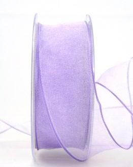 Organzaband mit Drahtkante, flieder, 40 mm breit - organzaband-mit-drahtkante, geschenkband-dauersortiment