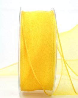 Organzaband gelb, 40 mm, mit Drahtkante - organzaband-mit-drahtkante, organzaband-einfarbig