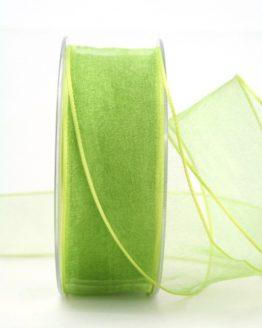 Organzaband mit Drahtkante, hellgrün, 40 mm breit - organzaband-mit-drahtkante, geschenkband-dauersortiment