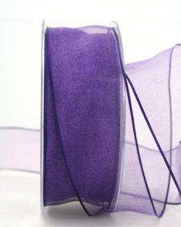 Organzaband lila, 40 mm, mit Drahtkante - organzaband-mit-drahtkante, organzaband-einfarbig