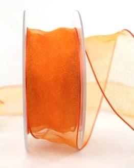 Organzaband mit Drahtkante, orange, 40 mm breit - organzaband-mit-drahtkante, geschenkband-dauersortiment