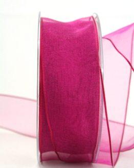 Organzaband mit Drahtkante, pink, 40 mm breit - organzaband-mit-drahtkante, geschenkband-dauersortiment