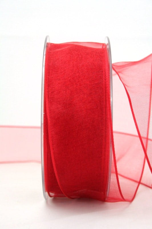 Organzaband rot, 40 mm, mit Drahtkante - sonderangebot, organzaband-mit-drahtkante, organzaband-einfarbig