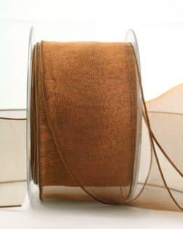 Organzaband braun, 60 mm, mit Drahtkante - organzaband-mit-drahtkante, organzaband-einfarbig
