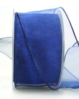 Organzaband dunkelblau, 60 mm, mit Drahtkante - organzaband-mit-drahtkante, organzaband-einfarbig