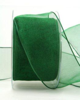 Organzaband dunkelgrün, 60 mm, mit Drahtkante - organzaband-mit-drahtkante, organzaband-einfarbig