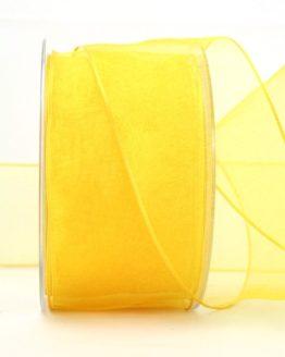 Organzaband gelb, 60 mm, mit Drahtkante - organzaband-mit-drahtkante, organzaband-einfarbig