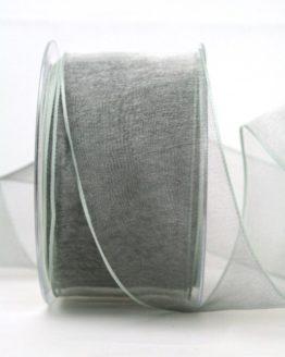 Organzaband hellgrau, 60 mm, mit Drahtkante - organzaband-mit-drahtkante, organzaband-einfarbig
