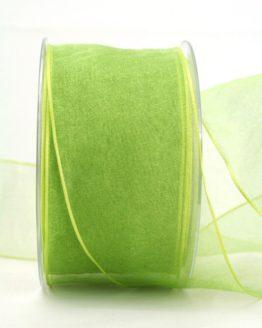 Organzaband hellgrün, 60 mm, mit Drahtkante - organzaband-mit-drahtkante, organzaband-einfarbig