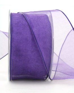 Organzaband lila, 60 mm, mit Drahtkante - organzaband-mit-drahtkante, organzaband-einfarbig