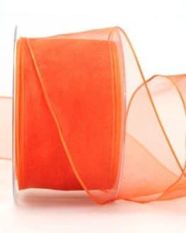 Organzaband orange, 60 mm, mit Drahtkante - organzaband-mit-drahtkante, organzaband-einfarbig