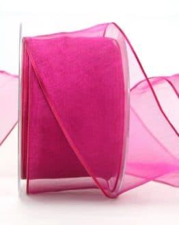 Organzaband pink, 60 mm, mit Drahtkante - organzaband-mit-drahtkante, organzaband-einfarbig