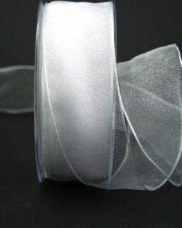 Organzaband weiß, 40 mm, mit Drahtkante - organzaband-mit-drahtkante, organzaband-einfarbig