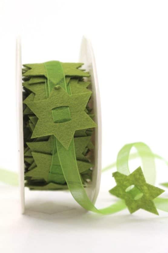 Organzaband mit Filzsternen, grün, 40 mm - weihnachtsband, organzaband-weihnachten, geschenkband-weihnachten