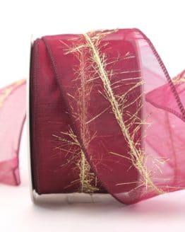 Organzaband mit Goldfransen, bordeaux, 60 mm - weihnachtsband, organzaband-weihnachten, geschenkband-weihnachten