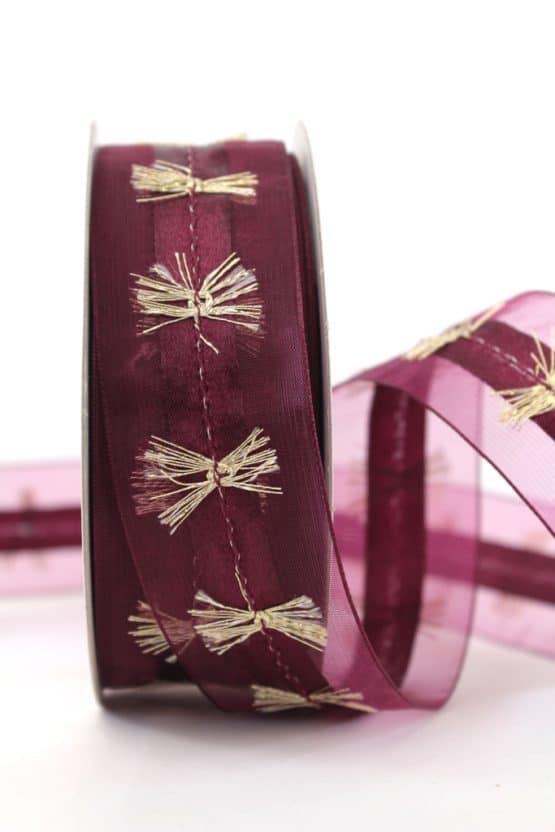 Organzaband mit Goldfransen, bordeaux, 40 mm - weihnachtsband, organzaband-weihnachten, geschenkband-weihnachten, 30-rabatt