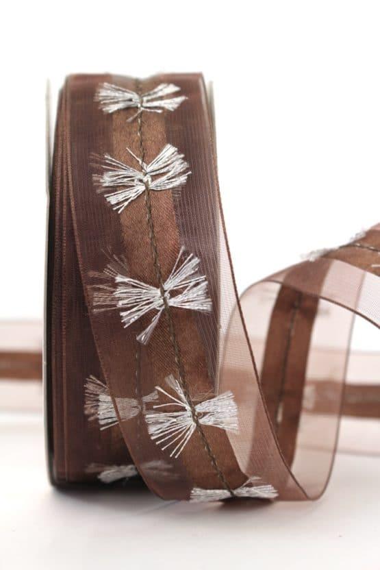 Organzaband mit Silberfransen, braun, 40 mm - weihnachtsband, organzaband-weihnachten, geschenkband-weihnachten, 30-rabatt