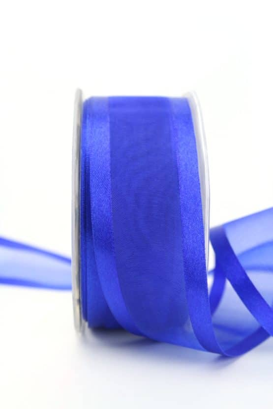 Organzaband mit Satinrand indigoblau, 40 mm - organzaband-einfarbig