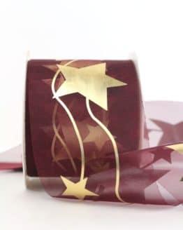 Organzaband mit goldenen Sternen, bordeaux, 70 mm - weihnachtsband, organzaband-weihnachten, organzaband-gemustert, geschenkband-weihnachten