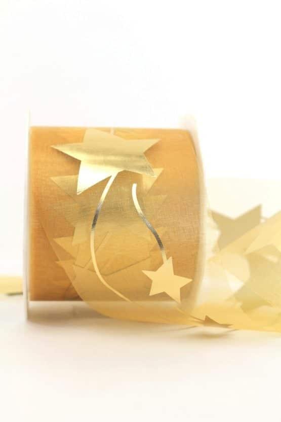Organzaband mit goldenen Sternen, gold, 70 mm - weihnachtsband, organzaband-weihnachten, organzaband-gemustert, geschenkband-weihnachten