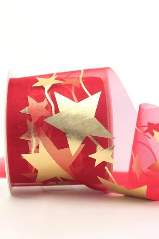 Organzaband mit goldenen Sternen, rot, 70 mm - weihnachtsband, organzaband-weihnachten, organzaband-gemustert, geschenkband-weihnachten