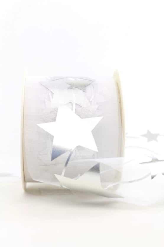 Organzaband mit silbernen Sternen, weiß, 70 mm - weihnachtsband, organzaband-weihnachten, organzaband-gemustert, geschenkband-weihnachten
