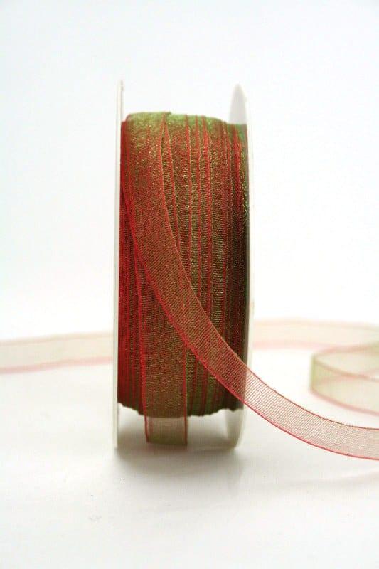 Organzaband mit Webkante, 10 mm breit, rot-grün changierend - organzaband-einfarbig, 50-rabatt